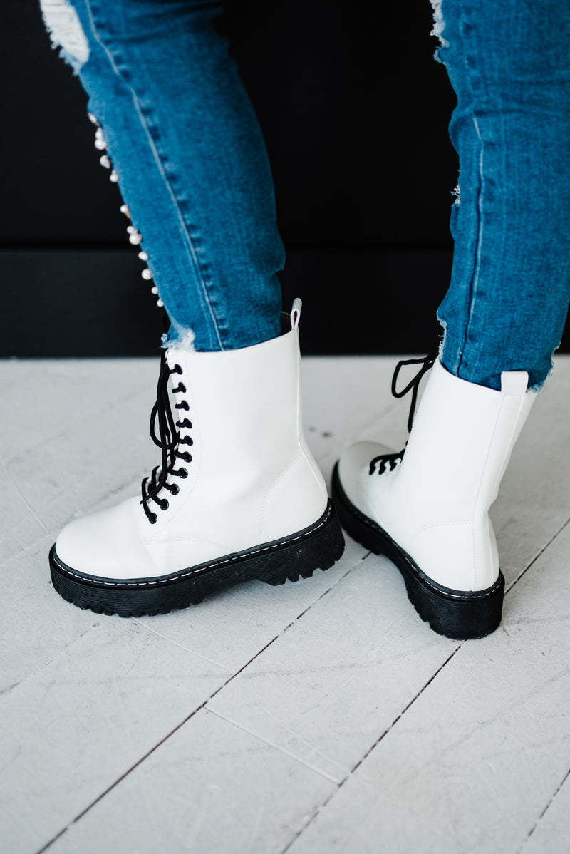 white platform boot with ties
