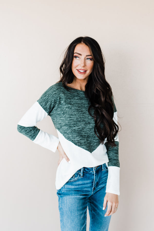 Women's green and white sweater