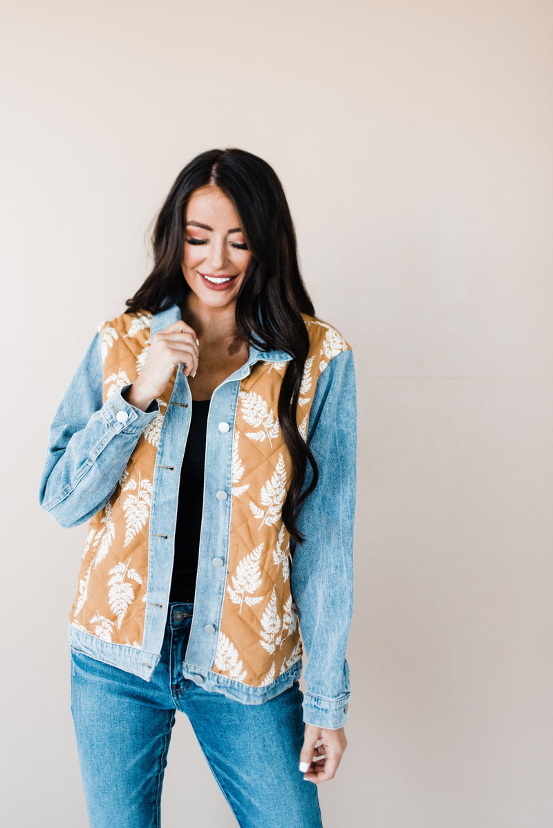 Fall Denim Jacket with Leaves
