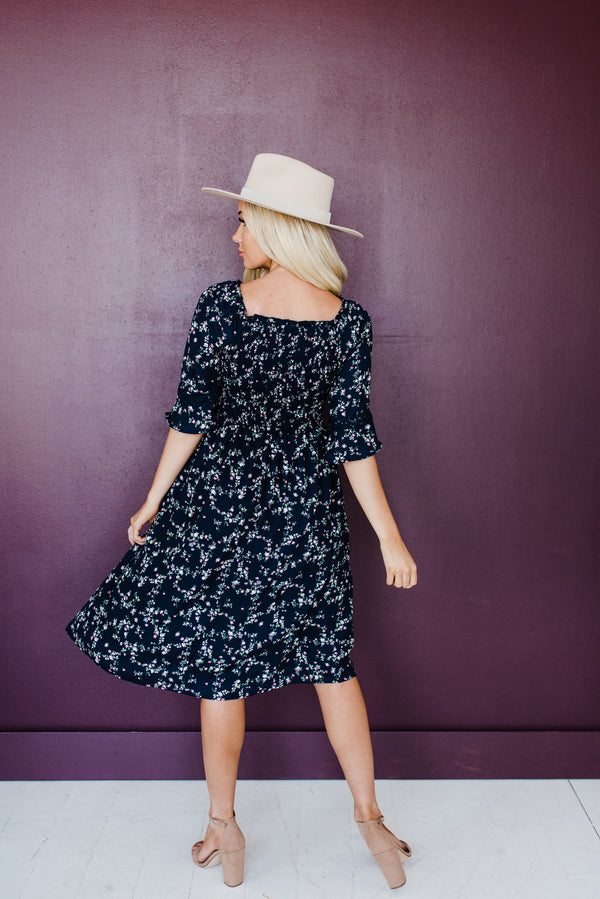 Caryn Dress in Navy