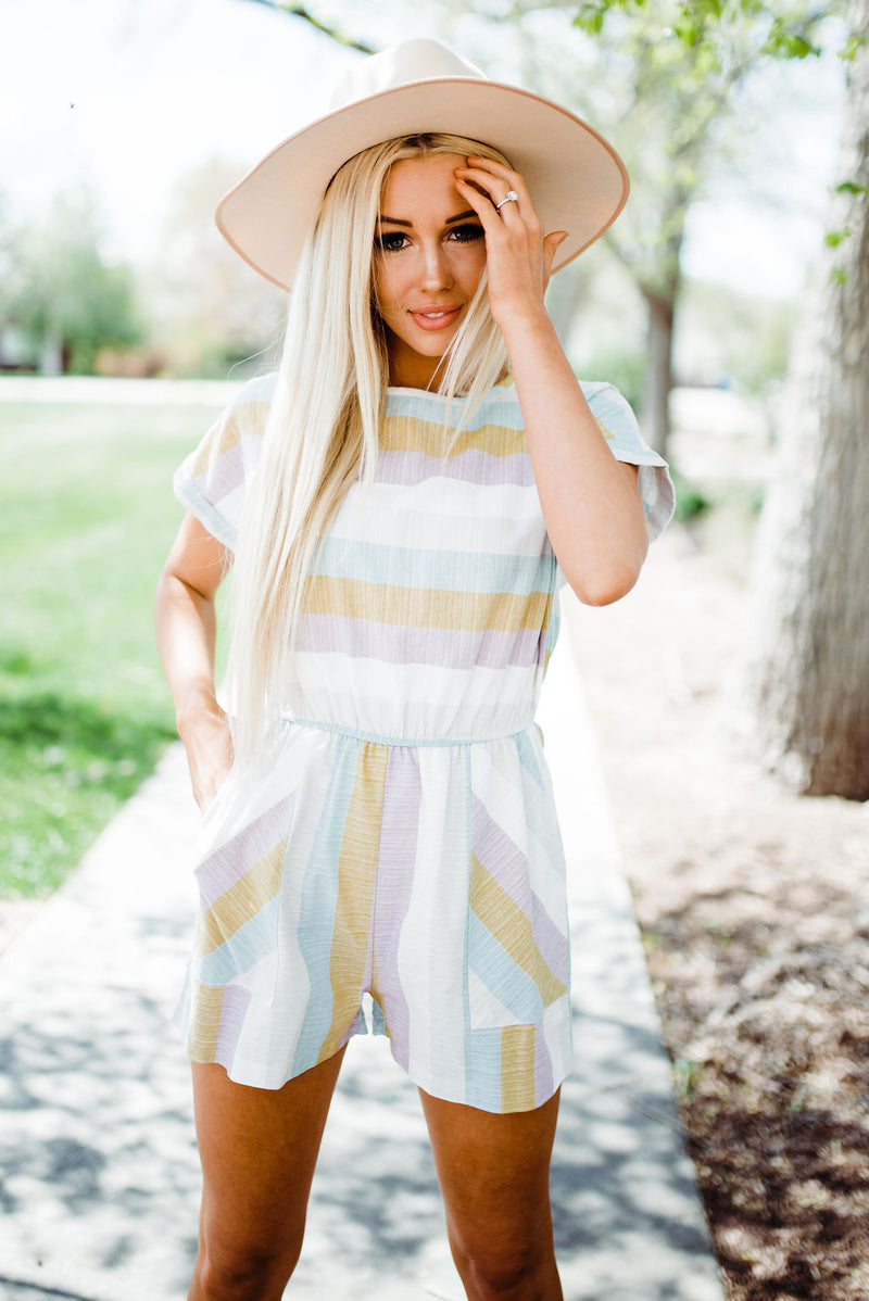 Striped rainbow romper