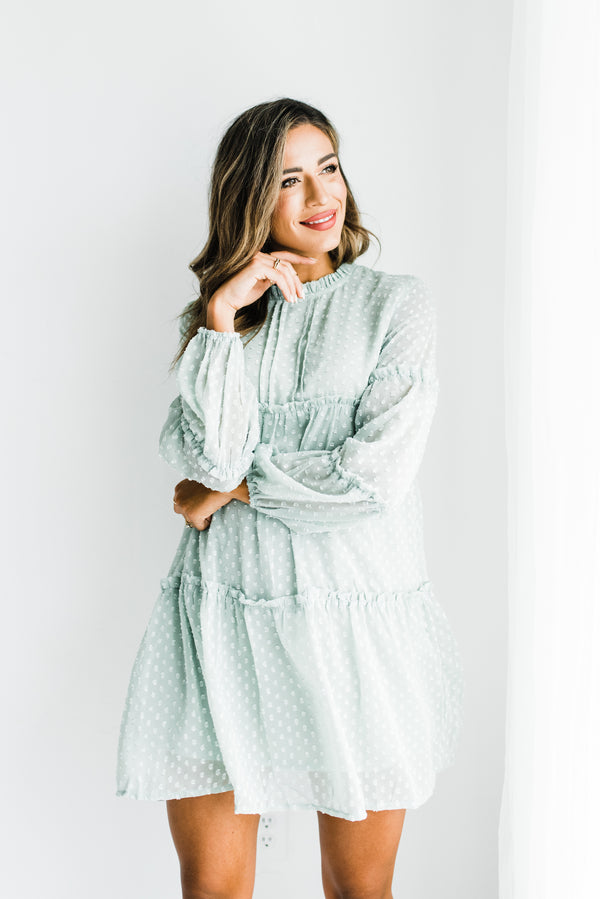Sage Green Mini Dress Long Sleeve