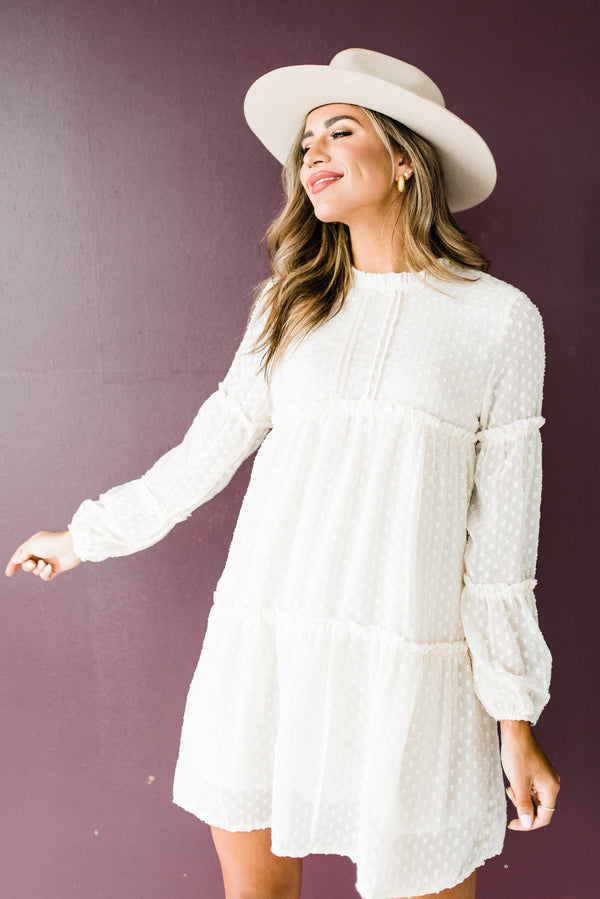 Long Sleeve Cream Dress