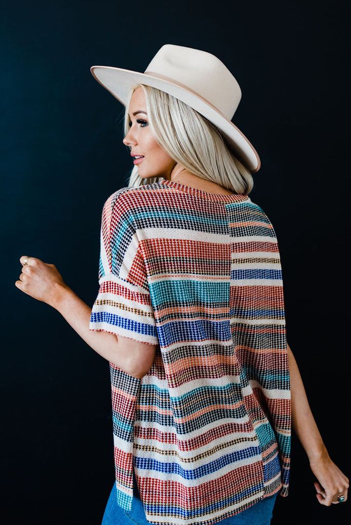 Multi color knit top