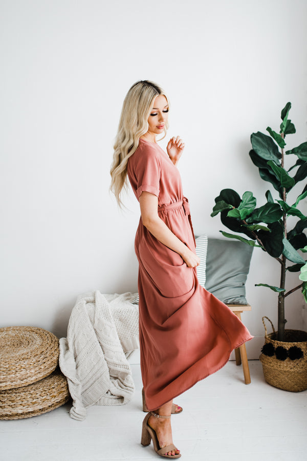 Esther Dress in Dusty Rose