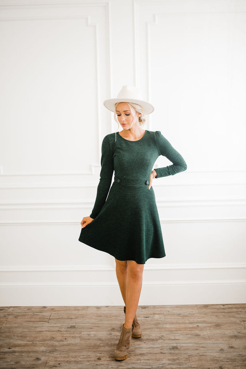 Long sleeve green dress