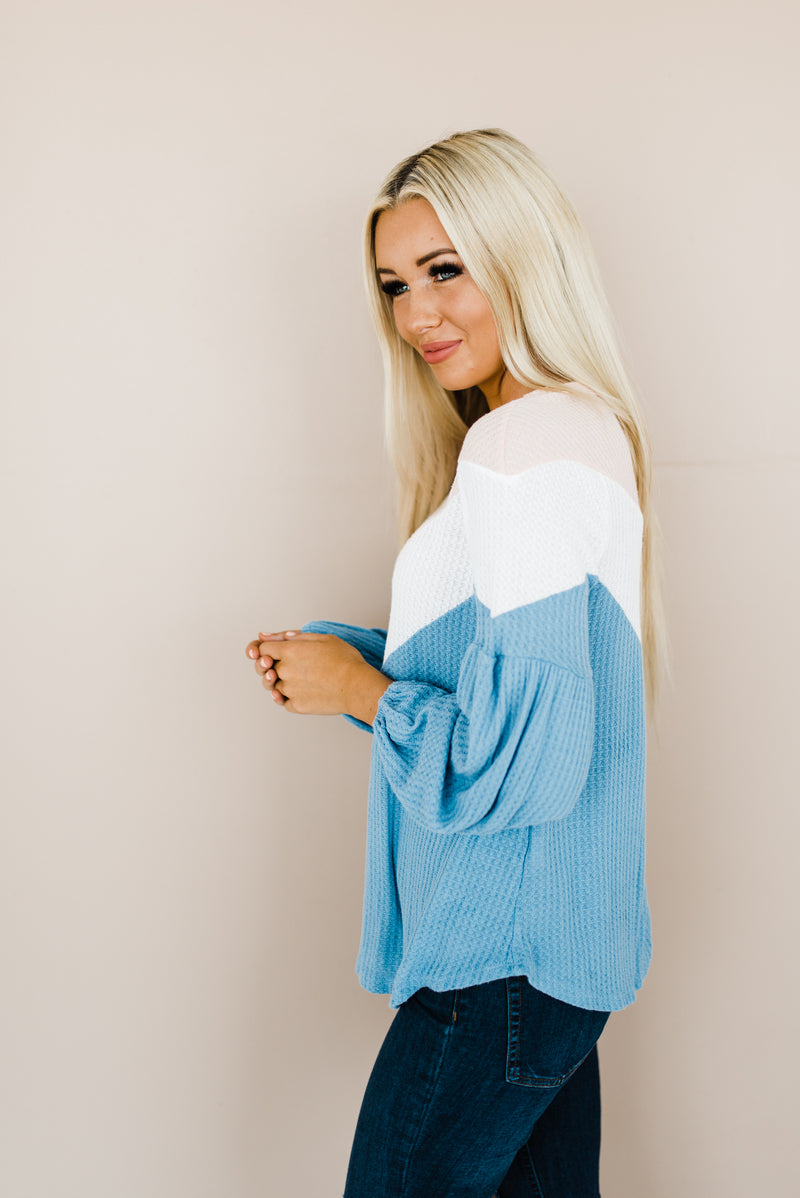 Blush and blue long sleeve parachute arms