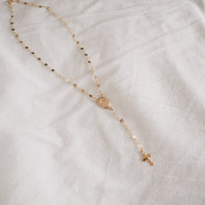 Miraculous Medal & Cross Lariat Style Necklace