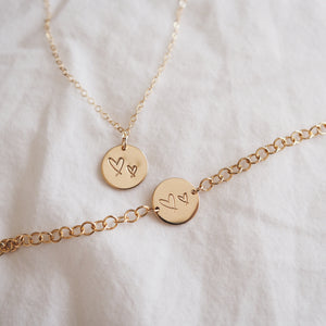 New Heart Necklace & Bracelet Combo