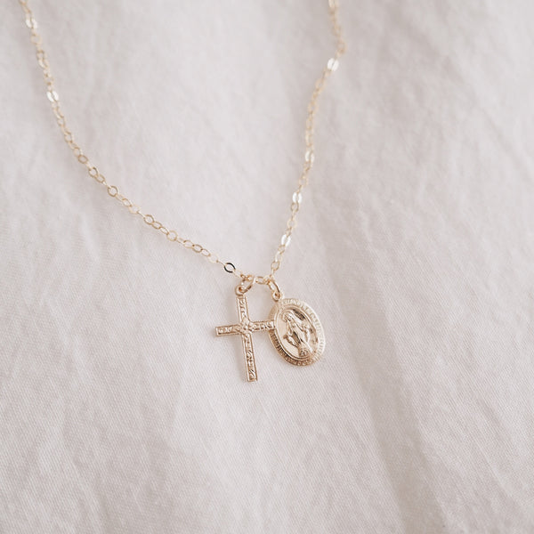Floral Cross & Miraculous Medal Necklace
