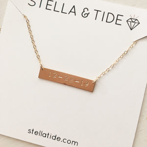 Custom Date Bar Necklace