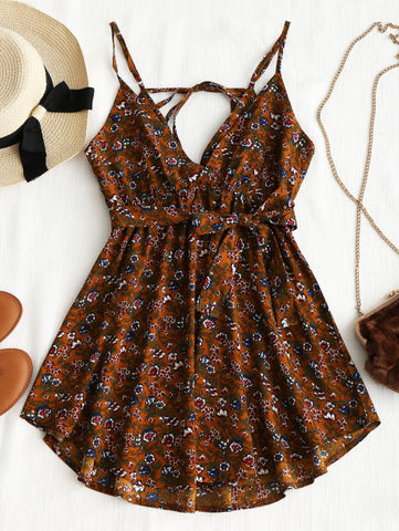 Floral Belted Mini Dress