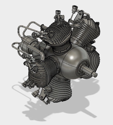 Morton M5 Radial 5 cylinder Model Airplane Motor 3D CAD Model