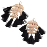 Multi Tassel Lightweight Statement Drop Earrings