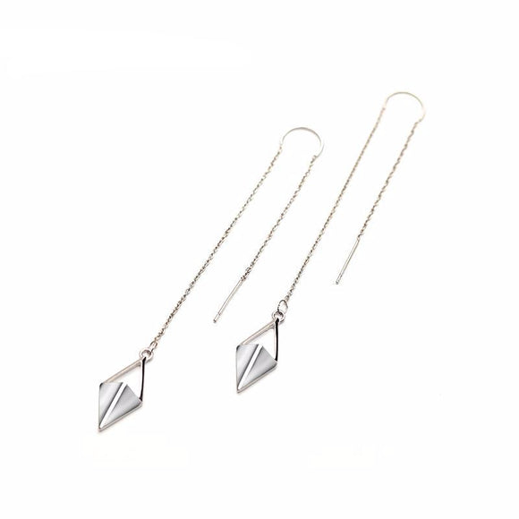 Silver Rhombus Line Drop Earrings