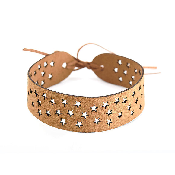 Maxi Hollow Out Star Suede Choker