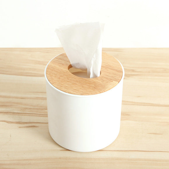 Circular Wooden Tissue Box