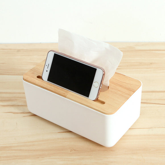 Wooden Tissue Box with IPhone Holder
