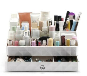 Diamond Makeup Drawer Compartment in White
