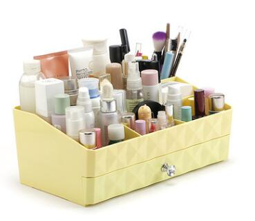 Diamond Makeup Drawer Compartment in Yellow