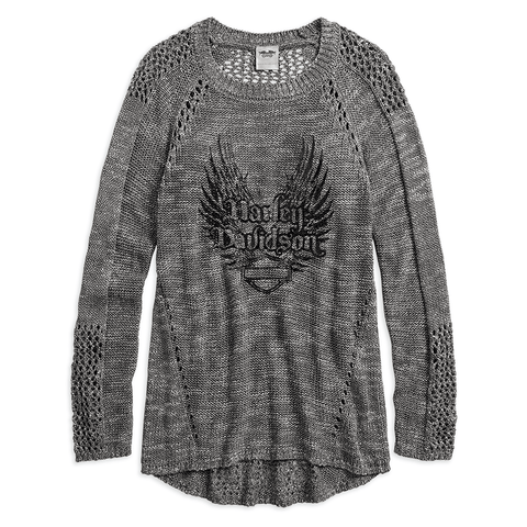 Harley-Davidson Winged Loose Weave Women's Sweater