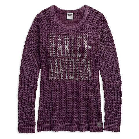 Harley-Davidson Loose Weave Acid-Washed Women's Sweater
