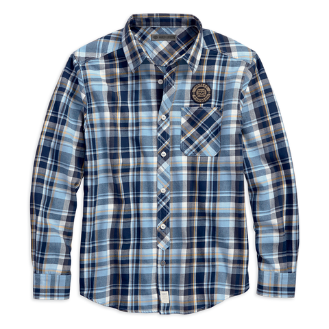 Harley-Davidson Skull Lightning Plaid Men's Shirt