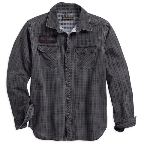 Harley-Davidson Canvas Patch Printed Plaid Men's Shirt
