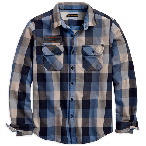 Harley-Davidson Eagle Patch Plaid Men's Shirt