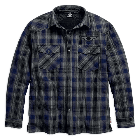 Harley-Davidson Plaid Quilted Men's Shirt Jacket with 3M Thinsulate Insulation