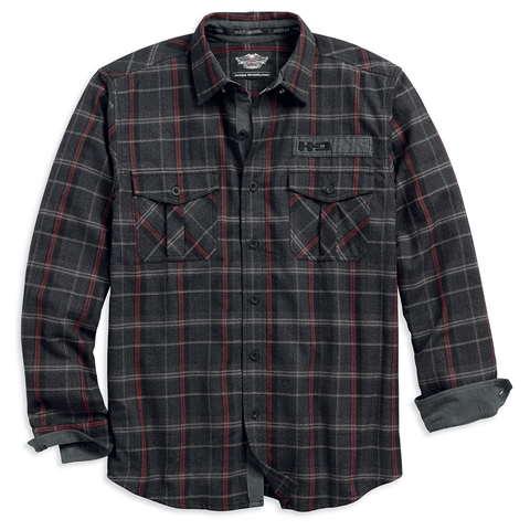 Harley-Davidson Corduroy Trim Men's Plaid Shirt