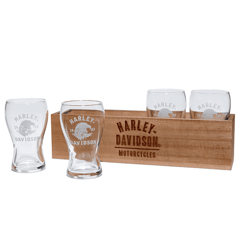 Harley-Davidson Beer Flight Glasses & Box