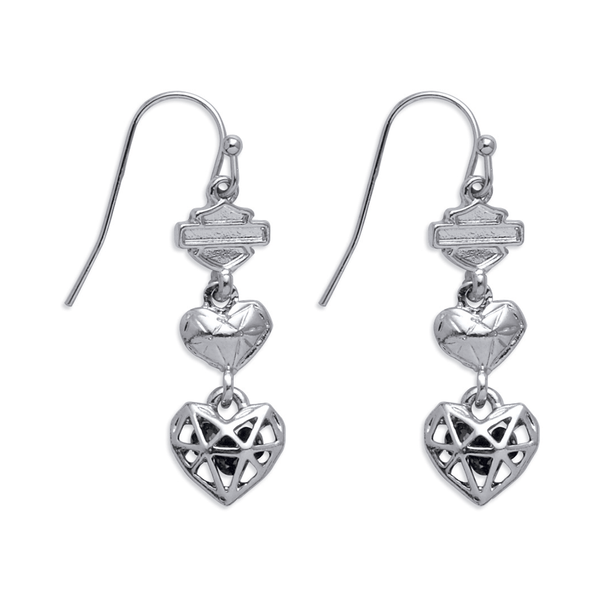 Harley-Davidson Geo Heart Women's Drop Earrings