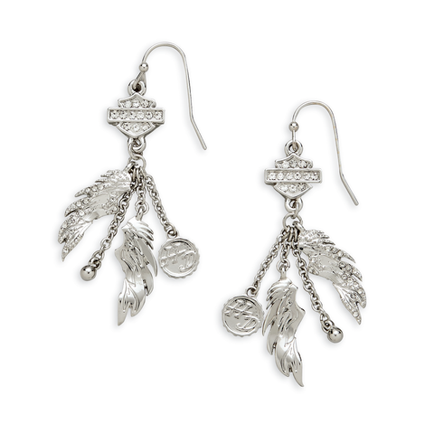 Harley-Davidson Winged Charm Drop Earrings