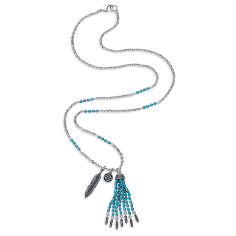Harley-Davidson Turquoise Bead & Charm Women's Necklace