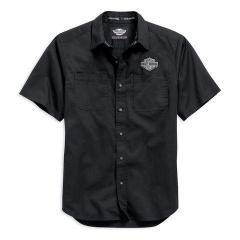 Harley-Davidson Black Woven Logo Men's Short Sleeve Shirt