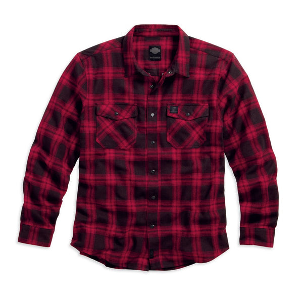 Harley-Davidson Red Plaid Men's Flannel Shirt