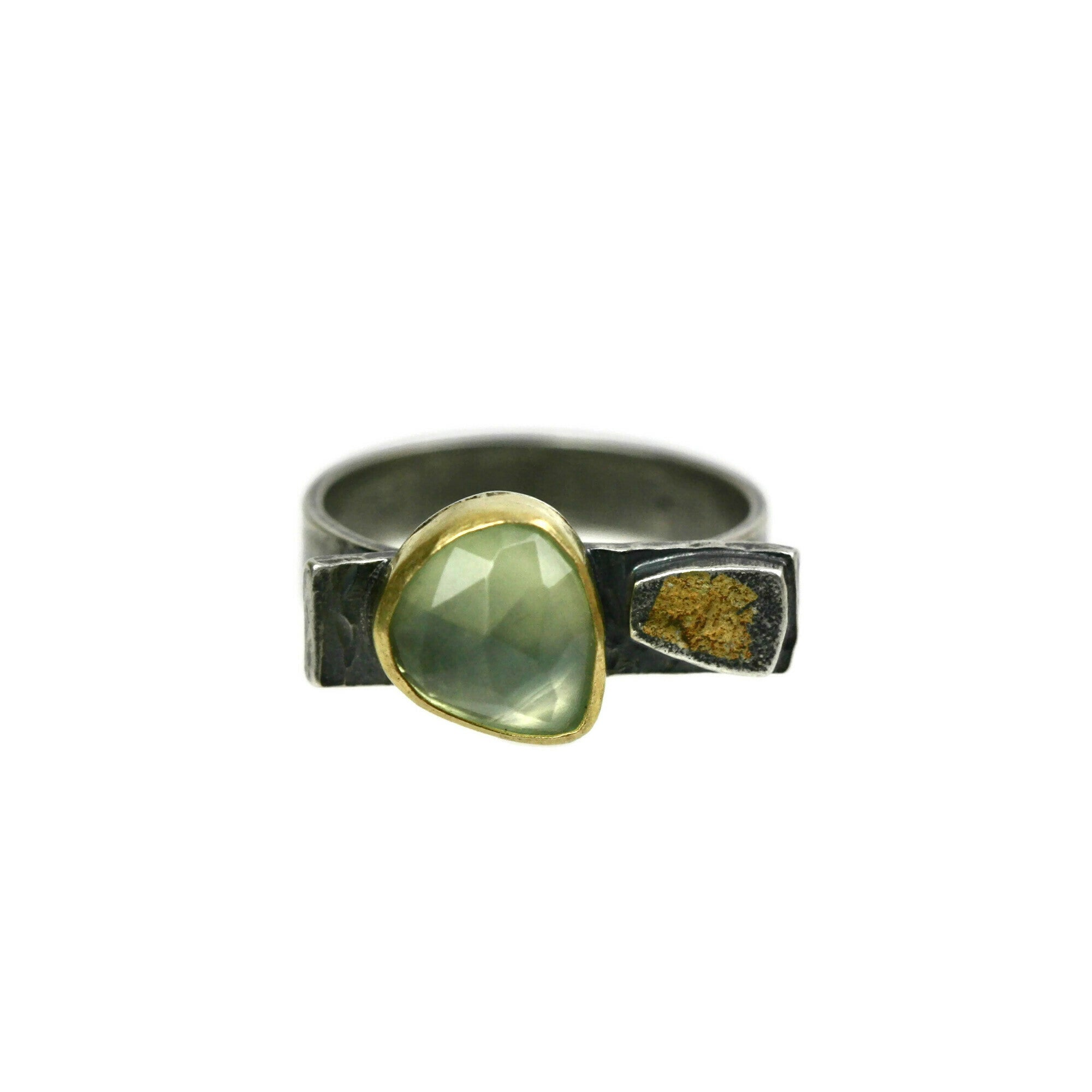 Rose Cut Prehnite Gold and Silver Ring