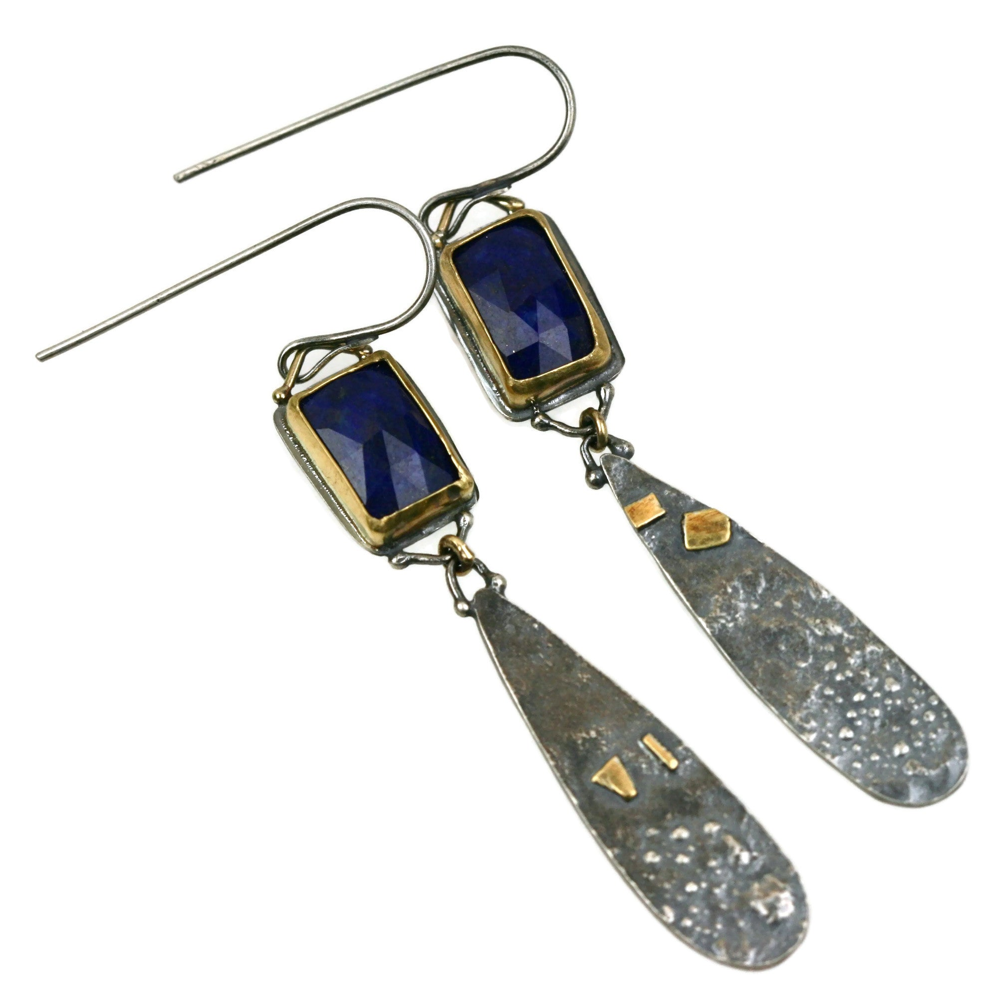 Lapis Gold and Silver earrings