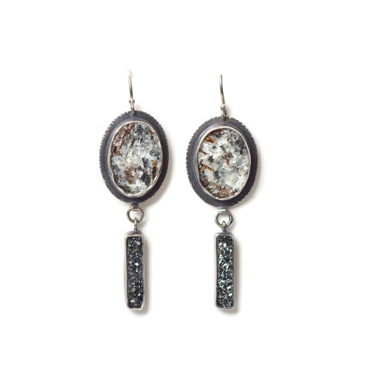 Astrophyllite and Druzy Earrings