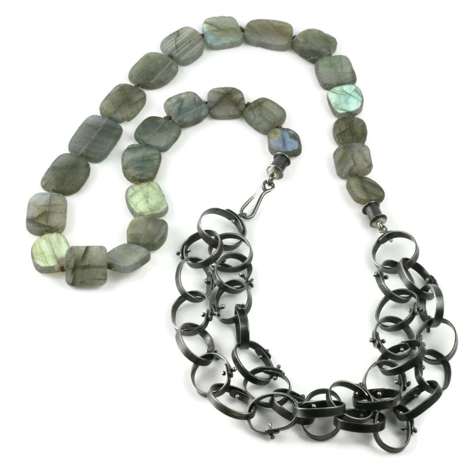 Labradorite Riveted Chain Necklace
