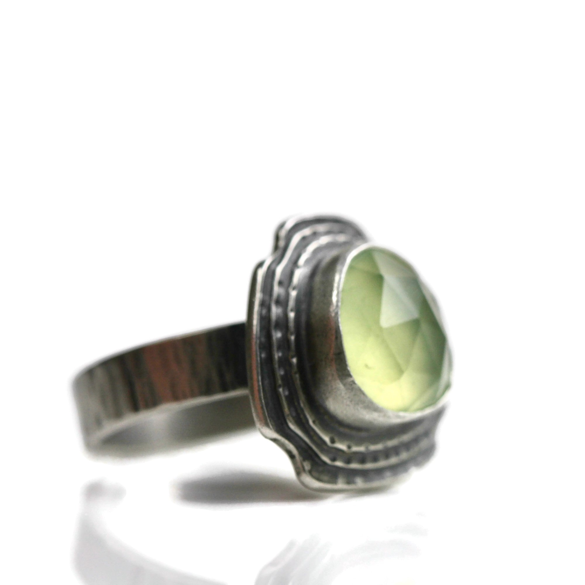 Rose Cut Prehnite Ring