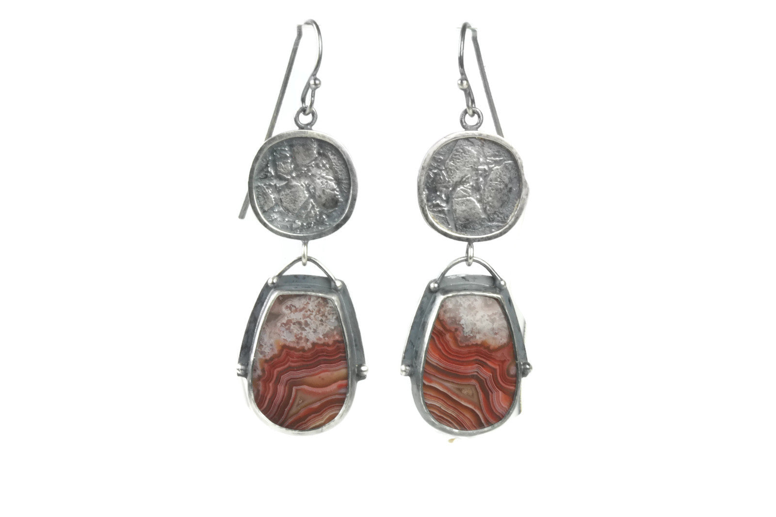 Red Lace Agate Earrings