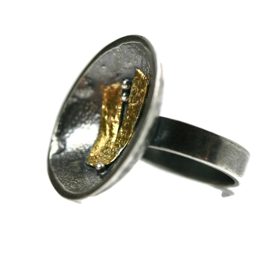 Reticulated Silver Bowl Ring