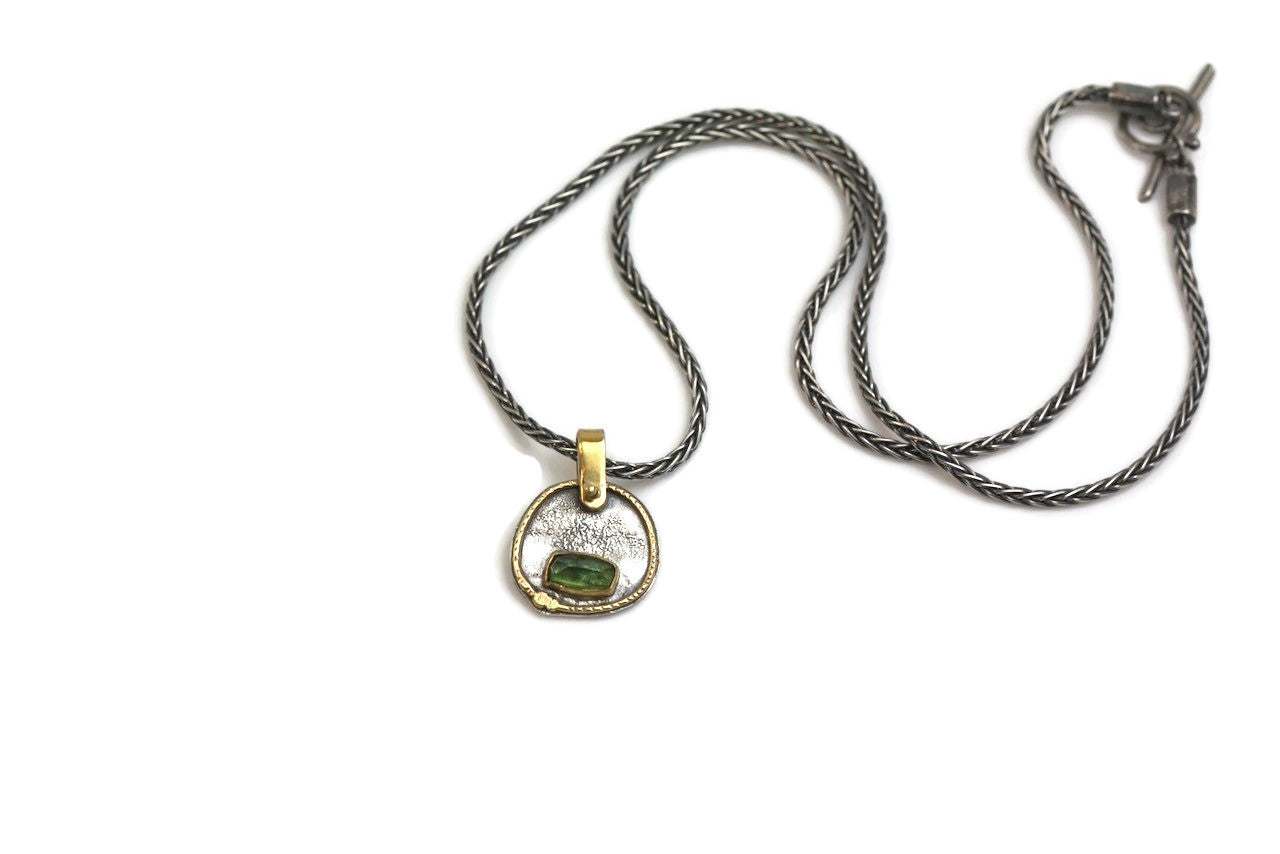 Tourmaline Silver and Gold Necklace