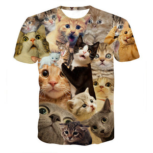 Funny Boys Men 3D Print Summer Short Sleeve Kitty Cat T-Shirts Top Tee Blouse