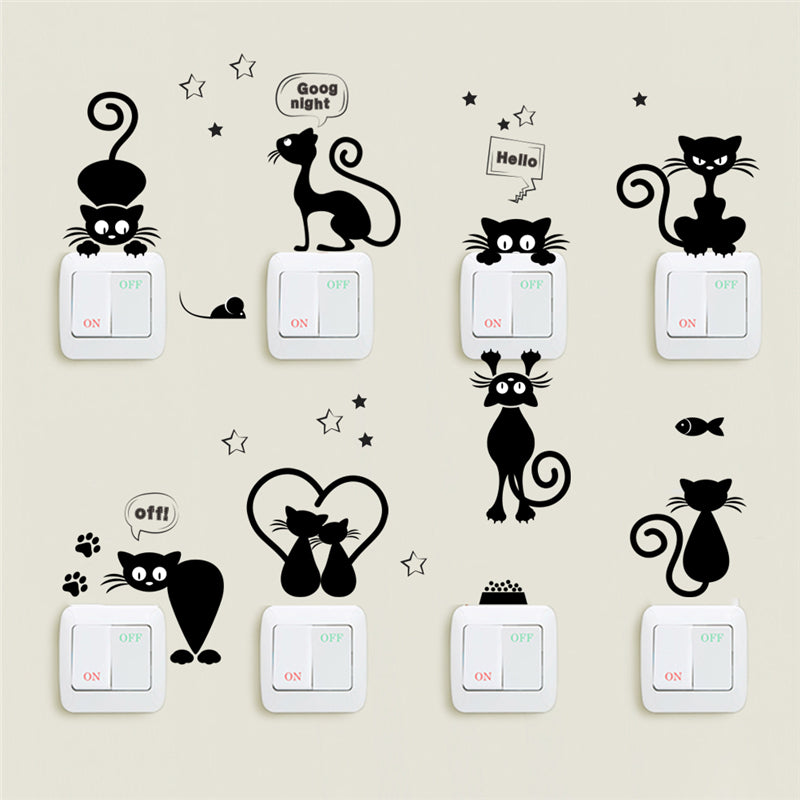 Cat Light Switch & Phone Wall Stickers