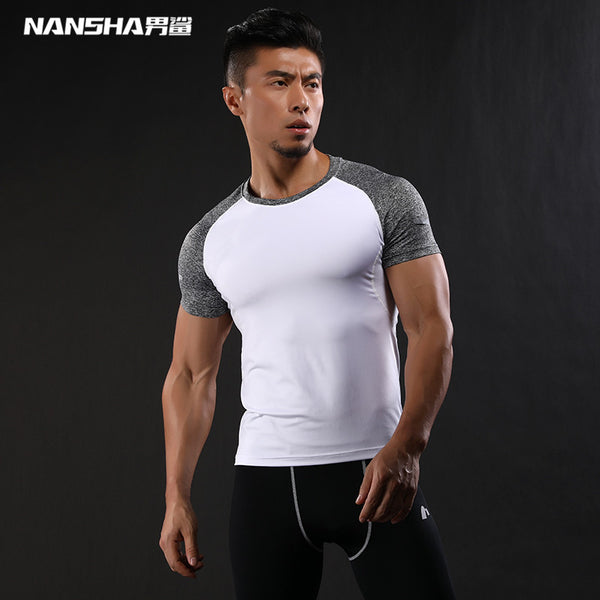 Quick Dry Slim Fit Compression Shirt Bodybuilding Fitness O-Neck