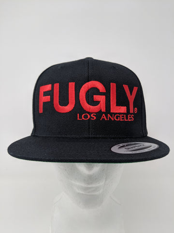 Black w/Red Fugly® Embroidery Classic Wool snapback