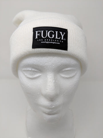 (NEW, NEW, NEW) Snow-White FUGLY® Brand Label Beanie